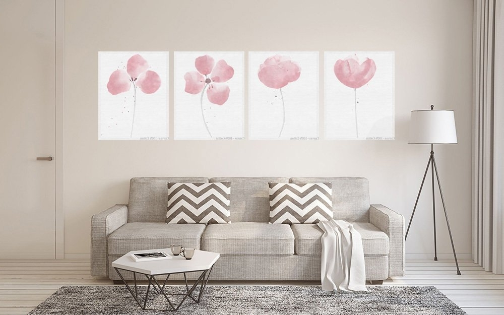 Latest Abstract Flower, 4 Piece Wall Art, Light Pink Décor, Floral Print Within Abstract Floral Wall Art (View 15 of 15)