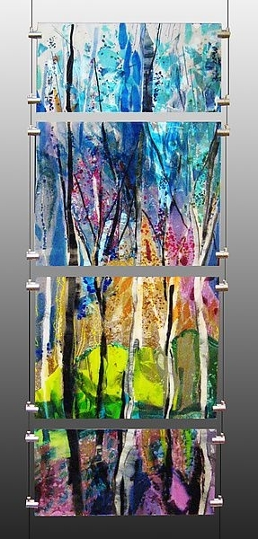 Latest Abstract Fused Glass Wall Art For This Four Piece Fused Glass Panel Of A Colorful Sun Drenched Forest (View 12 of 15)