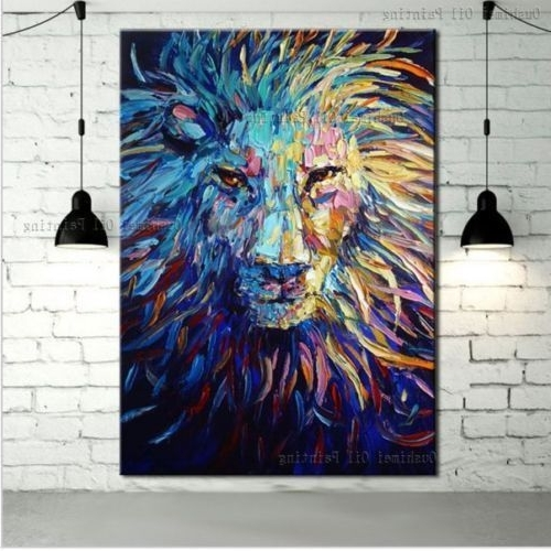 Latest Abstract Lion Wall Art With Regard To Hand Painted Canvas Oil Painting Abstract Lion Wall Art Paintings (View 9 of 15)
