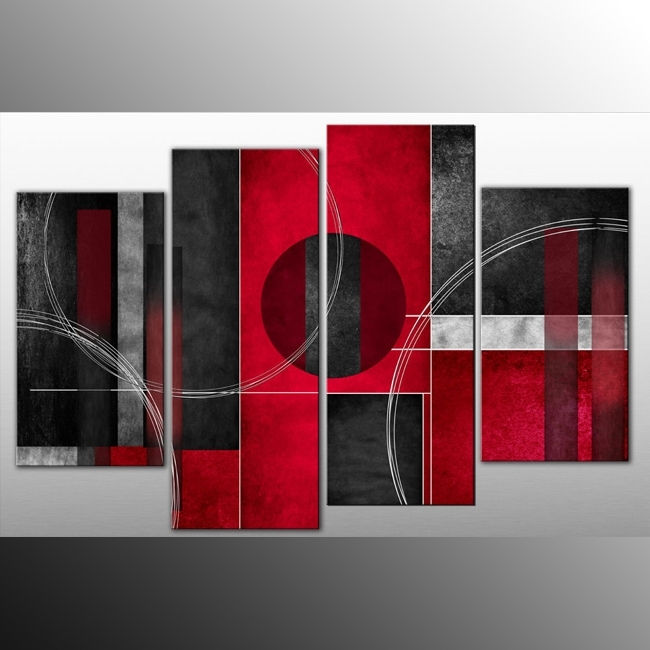 Latest Abstract Wall Art Prints For Rosso Nero Abstract Canvas Wall Art Print 4 Panel Black Red Grey  (View 9 of 15)