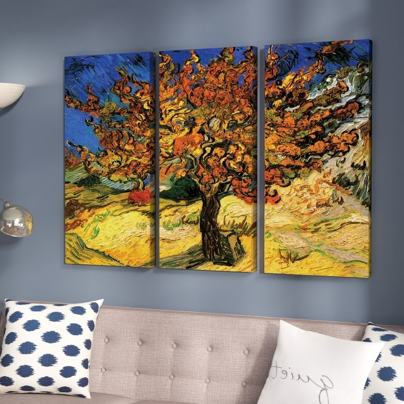 Latest Alcott Hill 'mulberry Tree'vincent Van Gogh 3 Piece Painting Within Vincent Van Gogh Multi Piece Wall Art (View 6 of 15)
