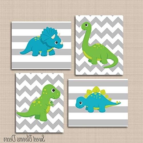 Latest Amazon: Dinosaur Décor,dinosaur Nursery Wall Art,dinosaur Wall With Regard To Dinosaur Canvas Wall Art (View 5 of 15)