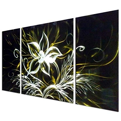 Latest Amazon: Pure Art Stunning Night Flower Abstract Aluminum Metal Intended For Abstract Flower Metal Wall Art (View 14 of 15)