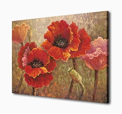 Latest Amazon: Yearainn Canvas Wall Art Red Flower Painting Framed Wall With Regard To Red Poppy Canvas Wall Art (View 6 of 15)