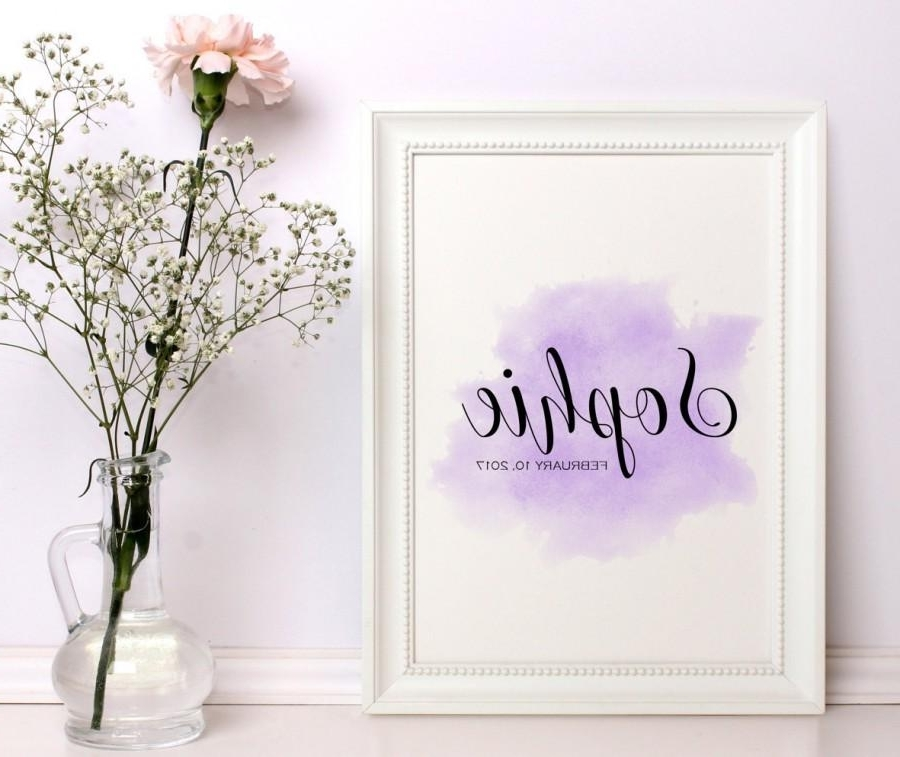 Latest Baby Girl Nursery Decor Personalized Nursery Custom Name Baby Name Within Personalized Nursery Wall Art (View 2 of 15)