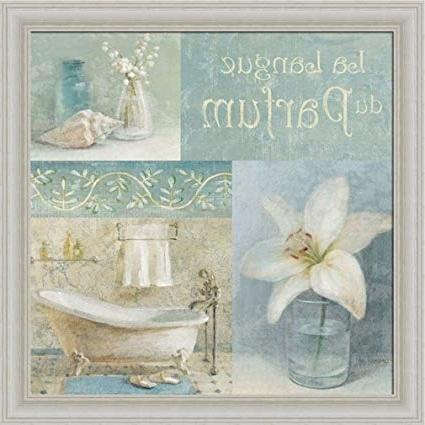 Latest Bath Wall Art With Amazon: Parfum Idanhui Nai Blue Bath Room Bathroom Wall Art (View 14 of 15)