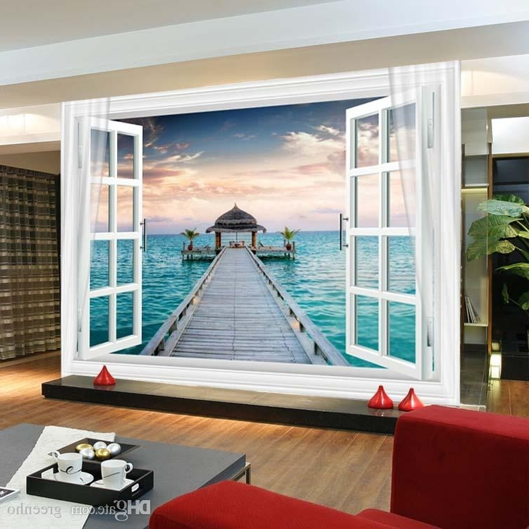 Latest Bedroom 3D Wall Art For Window 3D Maldives Large Ocean View Wall Stickers Art Mural Decal (View 10 of 15)