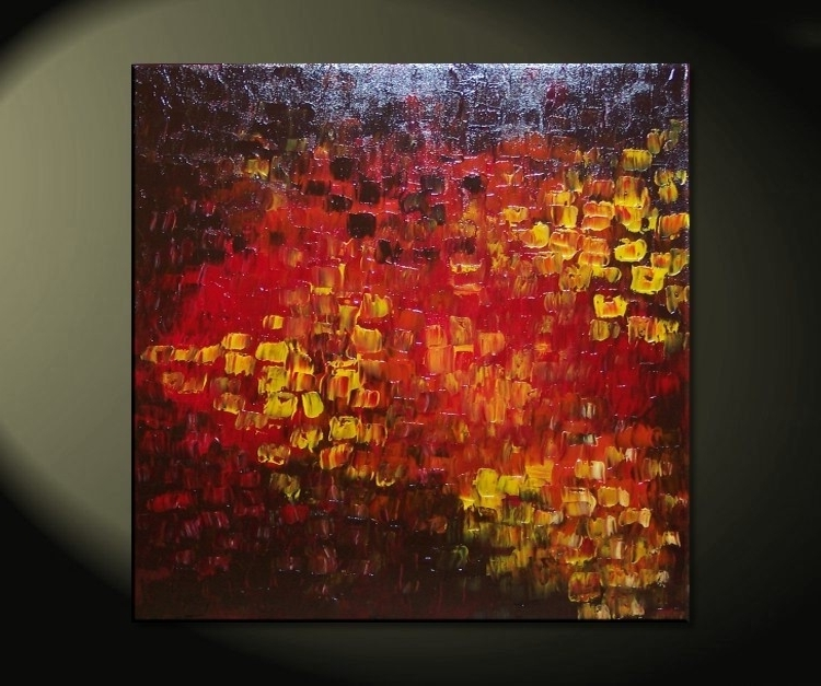Latest Big Abstract Textured Painting Red Red Brown Orange Fall Colors Inside Ottawa Abstract Wall Art (View 5 of 15)