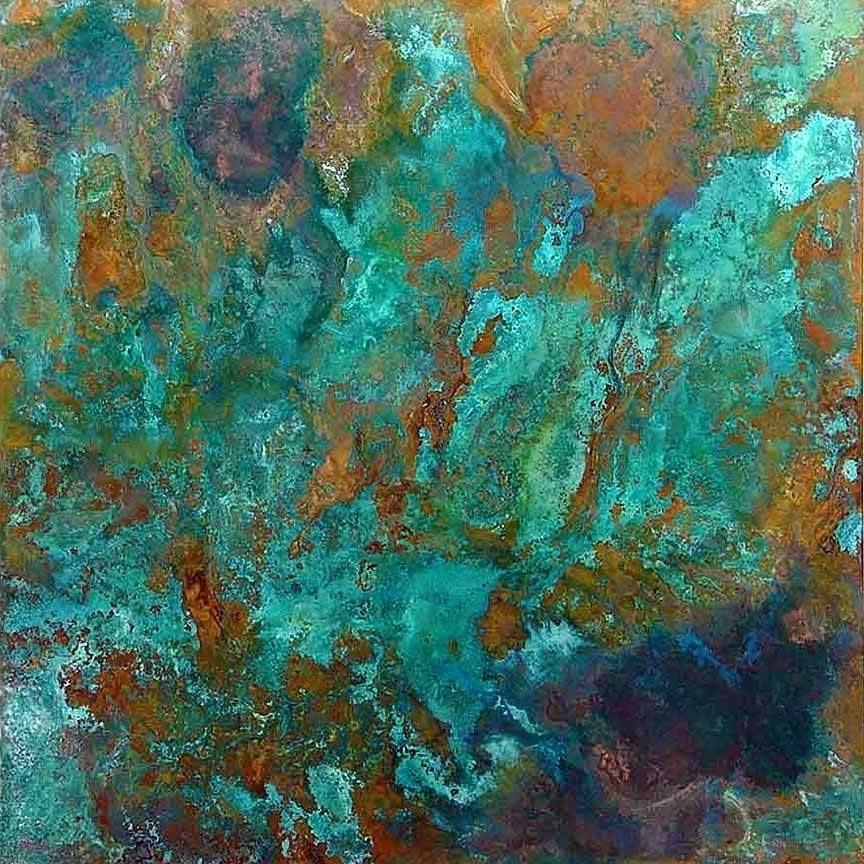 Latest Blue And Green Wall Art Large Copper Art Blue Green Flower Wall Art With Large Copper Wall Art (View 12 of 15)