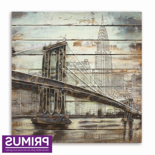 Latest Brooklyn Bridge Metal Wall Art For Primus Brooklyn Bridge 3D Hand Crafted Metal Wall Art On Timber Back (View 8 of 15)