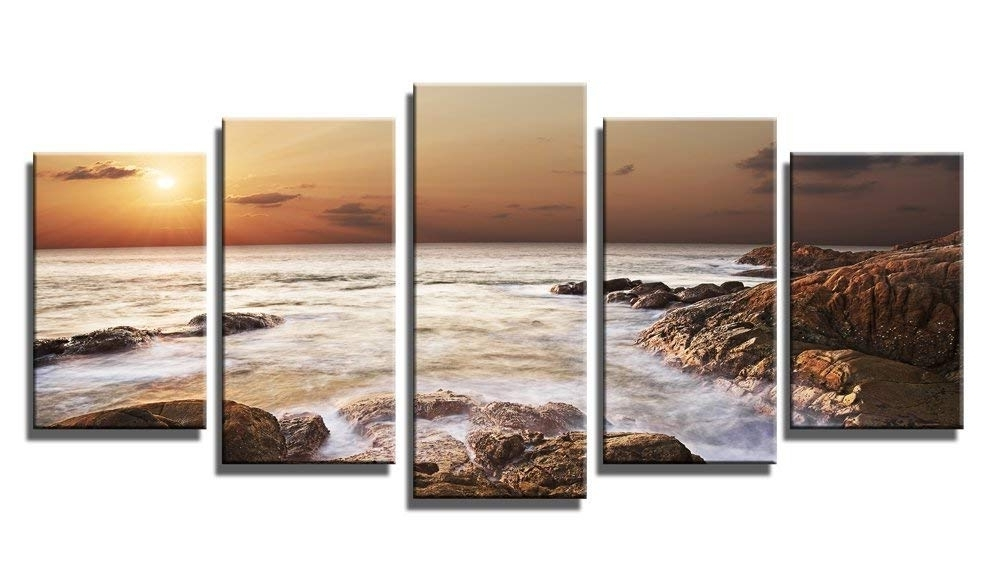 Latest Canvas Landscape Wall Art With Amazon: Wieco Art The Rocky Sea 5 Panels Seascape Canvas Prints (View 6 of 15)