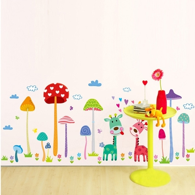 Latest Cartoon Animal Forest Fawn Wall Sticker Mushroom Wall Decal Mural Pertaining To Mushroom Wall Art (View 1 of 15)
