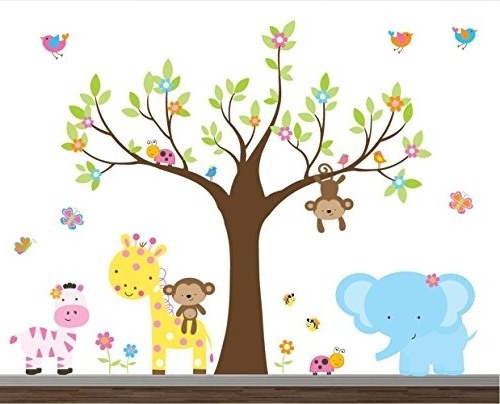 Latest Children Wall Art With Regard To Buy Girl Jungle Wall Decal Set Nursery Wall Decals Wall Stickers (View 3 of 15)