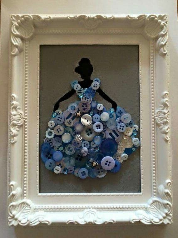 Latest Cinderella Siloute With Buttons – Wall Art – Disney – Princess Pertaining To Disney Princess Framed Wall Art (View 8 of 15)