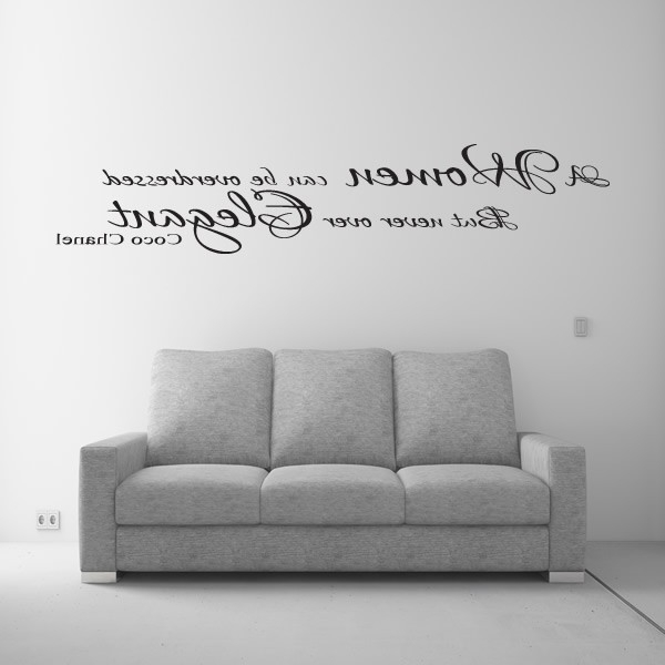 Latest Coco Chanel Wall Stickers Inside Coco Chanel Women Elegant Wall Art Quote Sticker Lounge Bedroom (View 4 of 15)