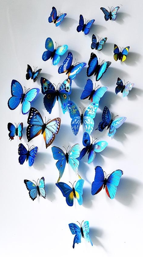 Latest Cute Set 3D Butterfly Wall Stickers Butterflies Docors Art Diy Pertaining To 3D Butterfly Wall Art (View 11 of 15)