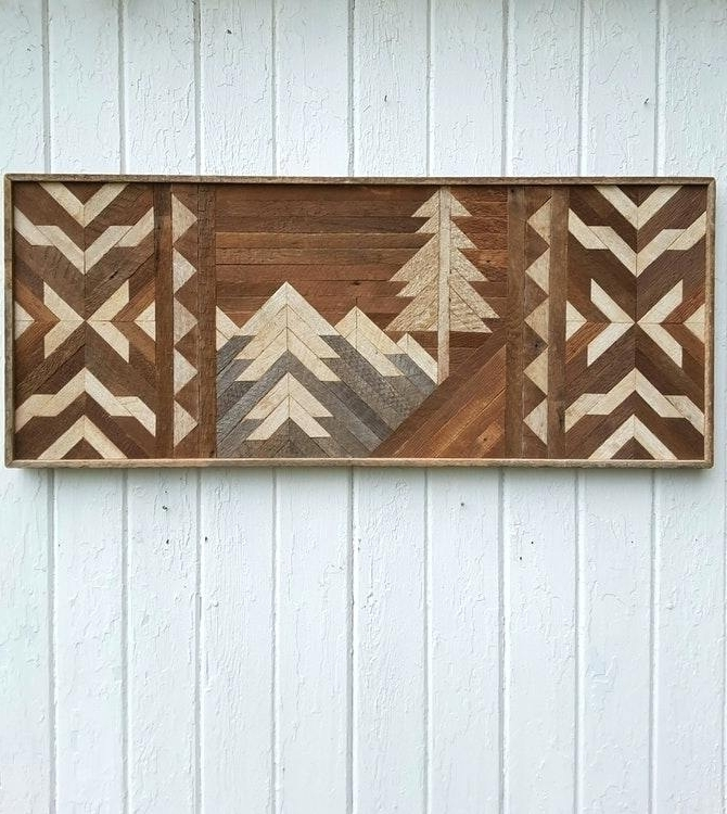 Latest Dark Wood Wall Art With Regard To Dark Wood Wall Art Reclaimed Wood Wall Art Mountains Geometric In (View 8 of 15)