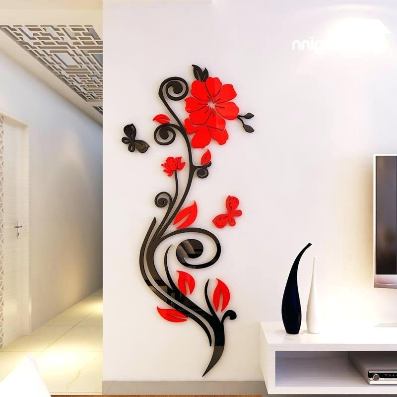 Latest Decorative 3D Wall Art Stickers Throughout 3D Wall Art Beautiful Acrylic Flower Shape Home Decorative Wall (View 10 of 15)