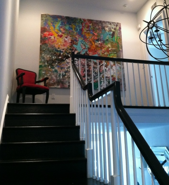 Latest Designs Ideas : Staircase Decor With Large Abstract Wall Painting Regarding Large Unique Wall Art (View 9 of 15)