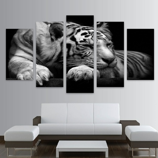 Latest Exotic Wall Art Throughout Big Exotic Cats Hd Canvas Wall Art 5 Panel Prints Free Shipping In (View 4 of 15)