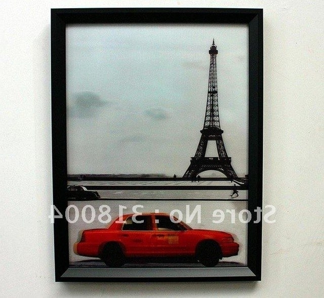 Latest Framed 3D Wall Art Throughout Eiffel Tower Framed 3D Wall Painting Wall Decor Art Hotel/bar Decor (View 9 of 15)