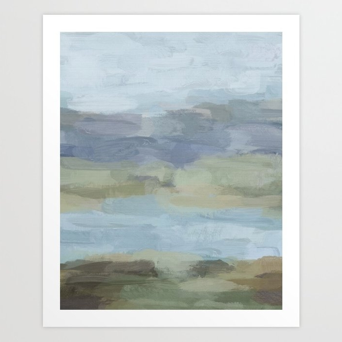 Latest Green Abstract Wall Art With Sky Gray Blue Sage Green Abstract Wall Art, Painting Art, Lake (View 9 of 15)