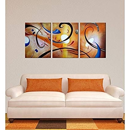 Latest Happiness Abstract Wall Art Throughout Amazon: 'happiness Abstract' Gallery Wrapped Canvas Art Set (View 4 of 15)