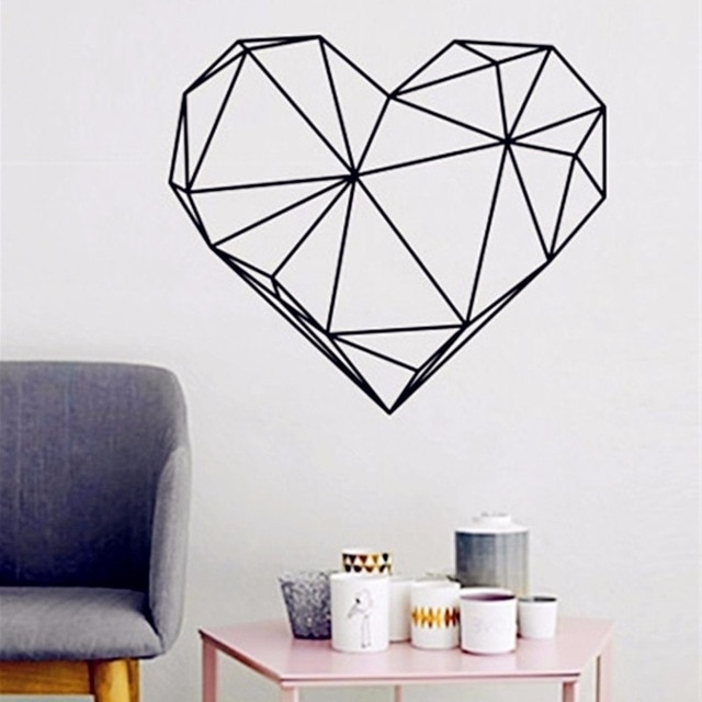 Latest Heart Shape Vinyl Art Print, Wall Pictures For Home Decoration Wall With Regard To Heart 3D Wall Art (View 13 of 15)