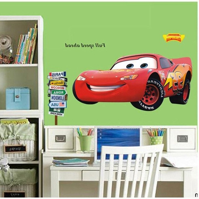 Latest Lightning Mcqueen Wall Art Pertaining To Vinyl Cartoon Lightning Mcqueen Wall Sticker Plane Wall Art Stickers (View 9 of 15)