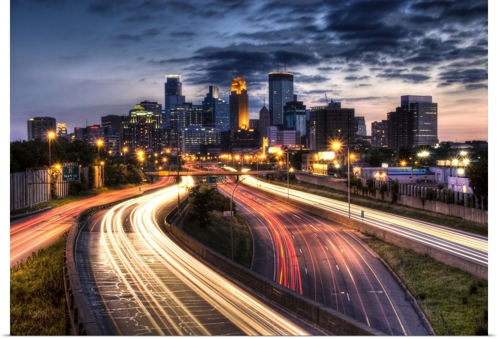 Latest Minneapolis Wall Art Inside Poster Print Wall Art Entitled Downtown Minneapolis Skyline And (View 8 of 15)