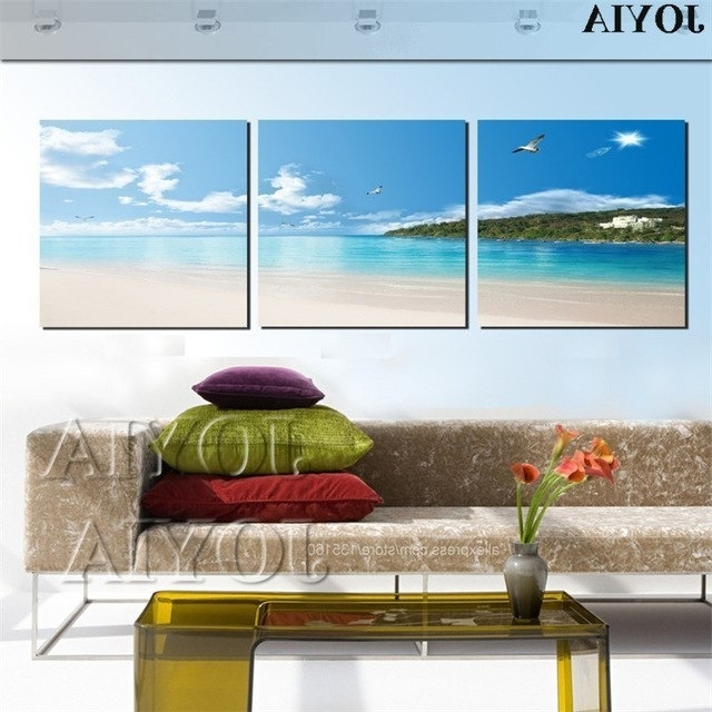 Latest Modern Home Decor 3 Piece Wall Art Canvas Painting Tropical Seascape In Coastal Wall Art Canvas (View 2 of 15)
