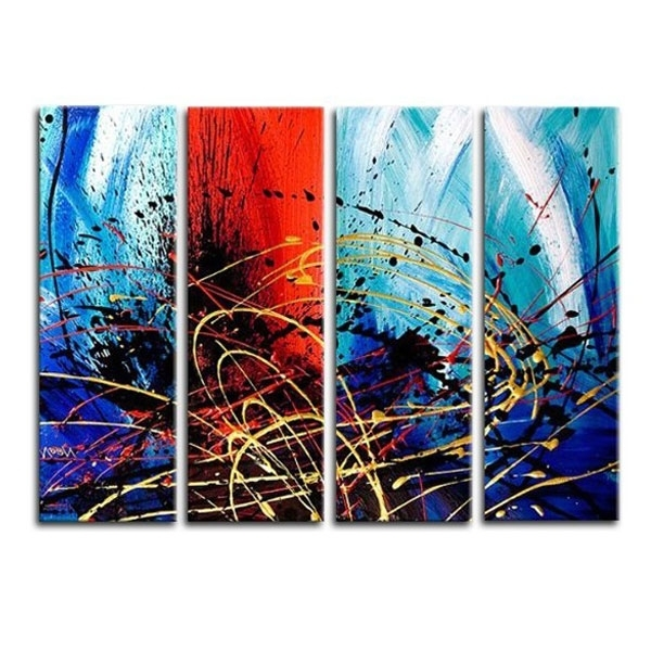 Latest Multiple Piece Canvas Wall Art Pertaining To Oversized Abstract Multiple Canvas Wall Art Red And Blue Color (View 8 of 15)