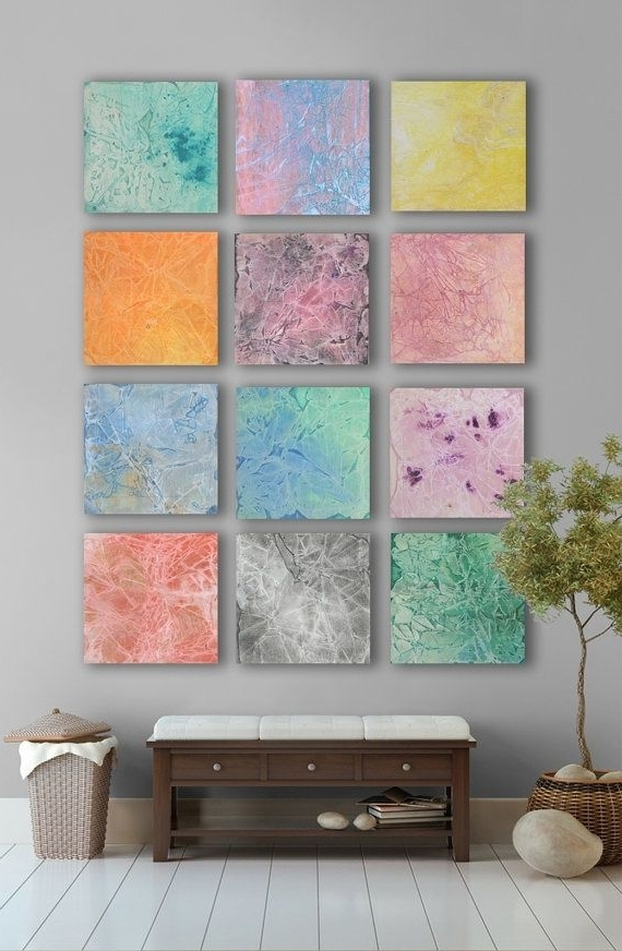 Latest My Artwork  Multicolor Pastel Abstract Art Painting, – 11 Square Intended For Pastel Abstract Wall Art (View 7 of 15)