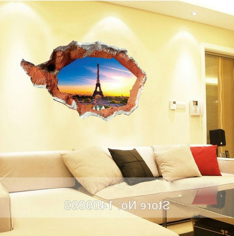 Latest New Fashion 3D Wall Stickers Vinyl Eiffel Tower Sunset Mural Inside Famous Vinyl 3D Wall Art (View 5 of 15)