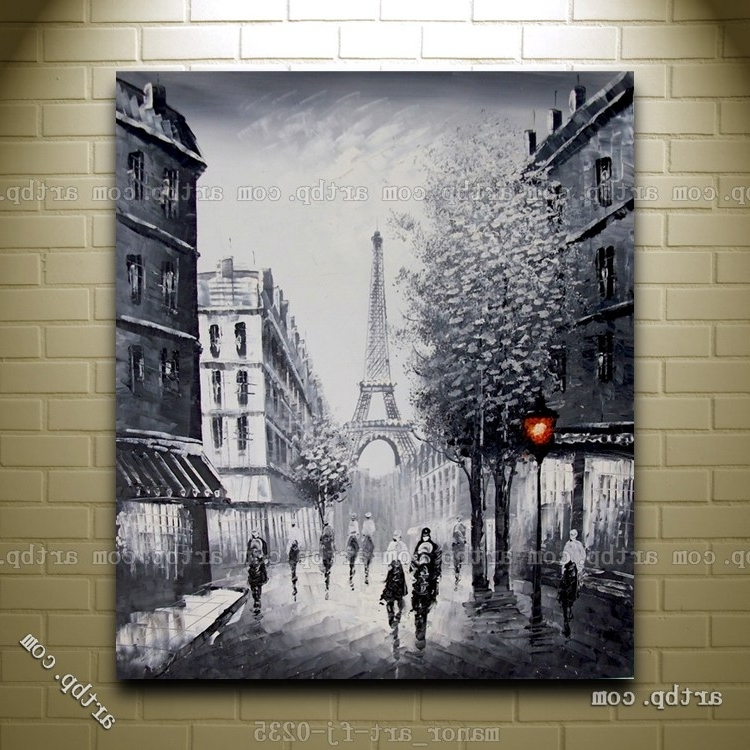 Latest Paris Themed Wall Art In Canvas Wall Modern Art Paris Eiffel Tower Painted Oil Painting (View 3 of 15)