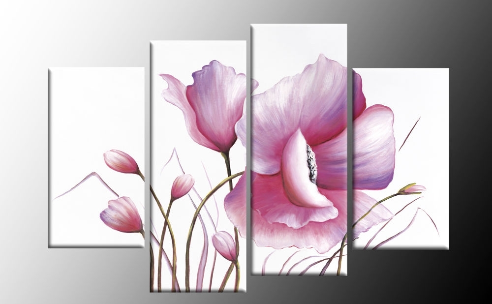 Latest Pink Flower Wall Art Intended For Pink Floral Canvas Flower Painting Wall Art Split Multi 4 Panel Rdy (View 5 of 15)