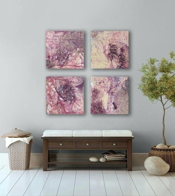 Latest Plum Coloured Wall Art Within Plum Coloured Wall Art Large Purple Abstract Painting 4 Square (View 3 of 15)