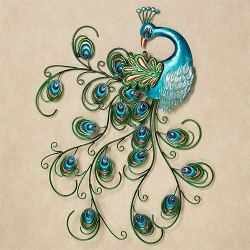 Latest Pretty Peacock Indoor Outdoor Metal Wall Art For Metal Peacock Wall Art (View 5 of 15)