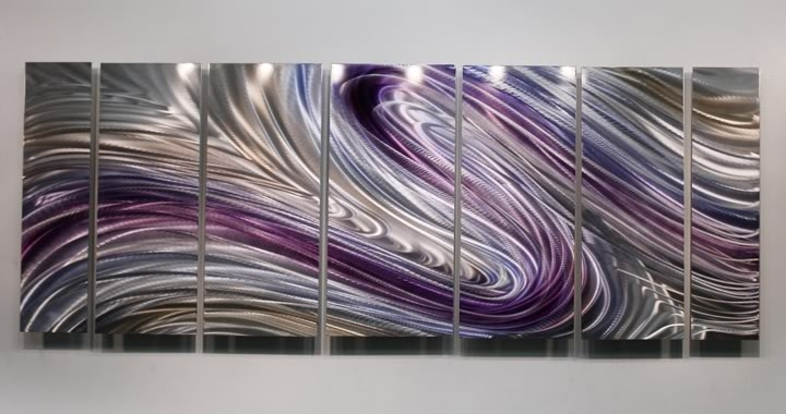 Latest Purple And Grey Abstract Wall Art With Regard To Contemporary Abstract Hand Painted Purple Metal Wall Art Inside (View 3 of 15)