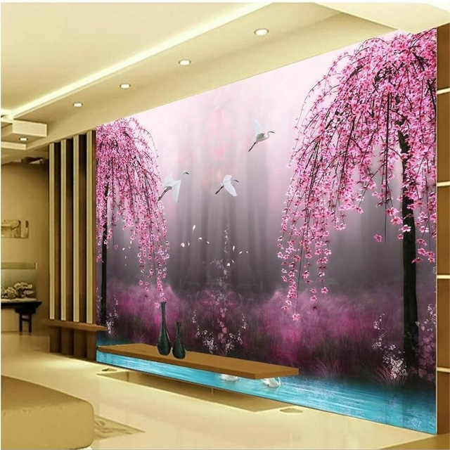 Latest Romantic Purple Peach Crane Lake Wall Art Background Photography Throughout Bedroom 3D Wall Art (View 3 of 15)