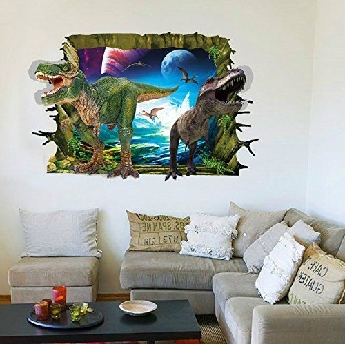 Latest Rrrljl 3D Jurassic Park Dinosaur Wall Art Decor Home Wall Decal Pertaining To 3D Dinosaur Wall Art Decor (View 11 of 15)
