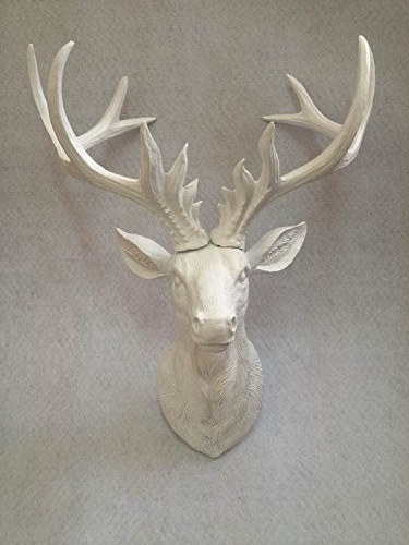 Latest Stag Head Wall Art Inside Amazon: Resin Faux Antlers Wall Decor – White Deer Head Wall (View 3 of 15)