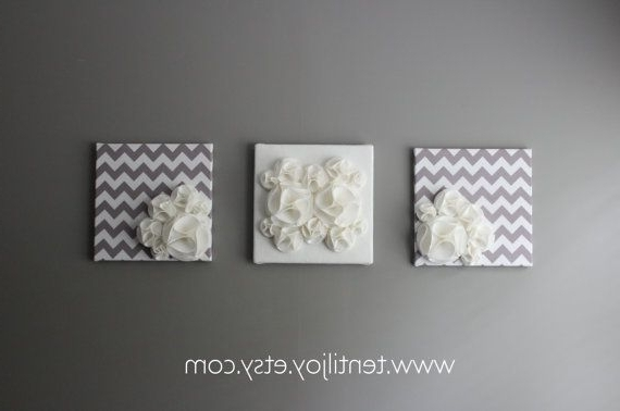 Latest Three Wall Art Canvases, Gray And White Nursery Wall Art, 3D Wall With Regard To 3D Wall Art For Baby Nursery (View 9 of 15)
