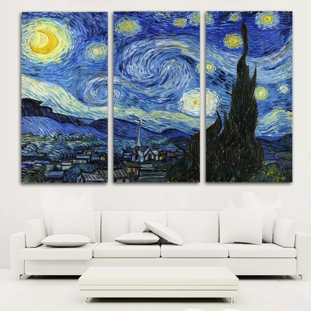 Latest Vincent Van Gogh Multi Piece Wall Art Throughout Selflessly Vincent Van Gogh 3 Pieces Starry Sky Abstract Classical (View 7 of 15)