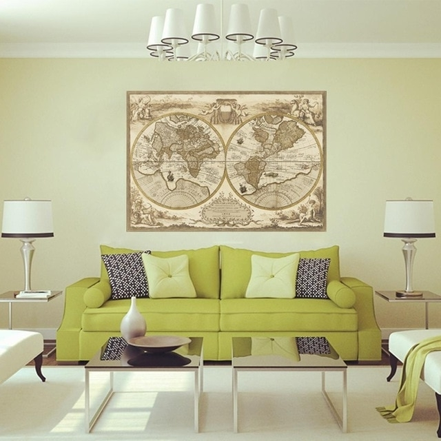 Latest Vintage Style Wall Art For Vintage Style Retro World Map Poster Home Decoration Wall Art Map (View 6 of 15)