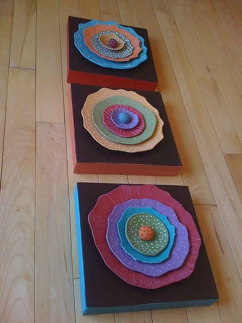 Latest Wall Flowers  Polymer Clay On Canvas (View 4 of 15)