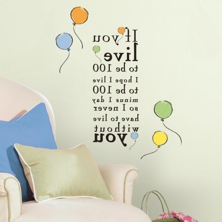 """Latest Winnie The Pooh """"live To Be 100"""" Peel And Stick Wall Decals (View 8 of 15)"""