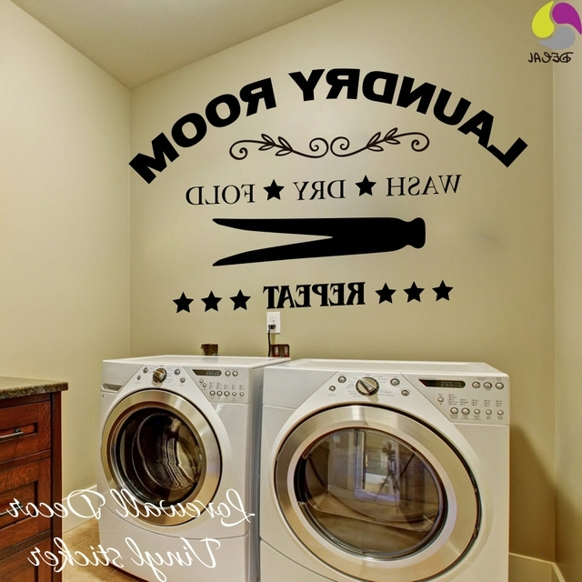 Laundry Room Wall Art Decors For Favorite Laundry Room Wall Sticker Wash Dry Fold Repeat Laundry Room (View 6 of 15)