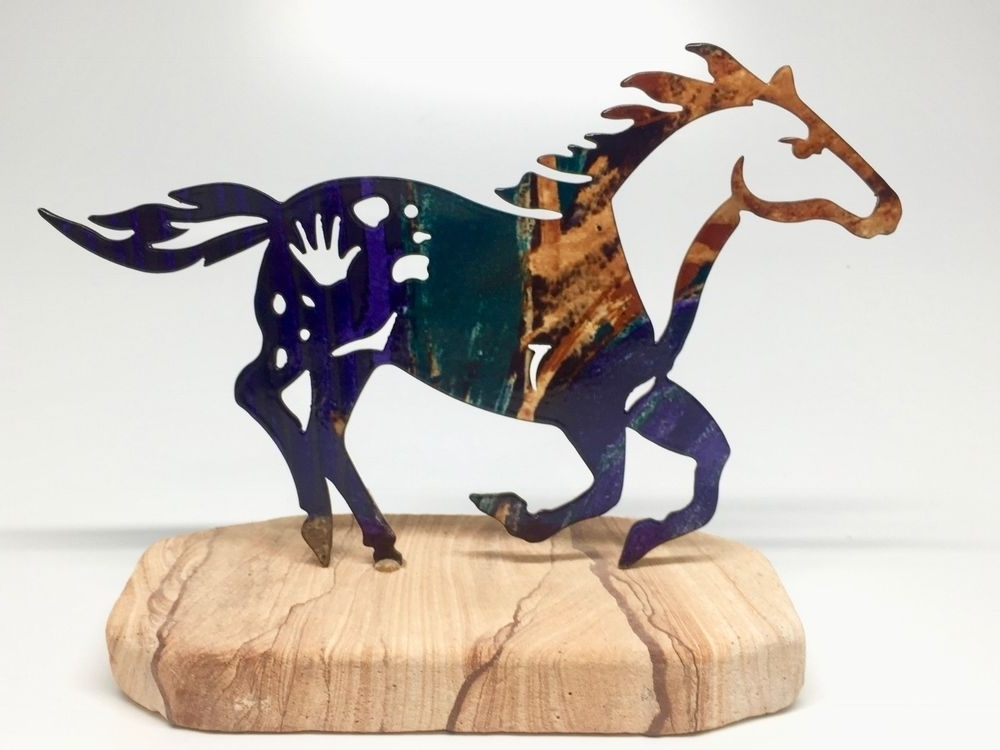 Lazart Metal Art Horse Sculpture Sandstone Base Warrior Southwestern Pertaining To Most Recently Released Lazart Metal Art (View 5 of 15)