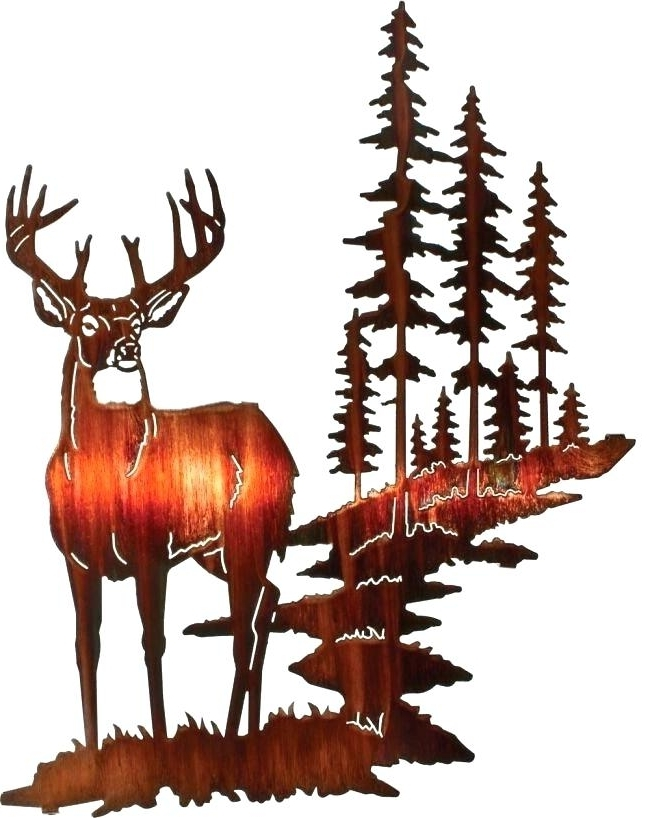 Lazart Metal Wall Art Metal Wall Art Wall Decor Edge Of Silence Deer Intended For Most Current Lazart Metal Wall Art (View 13 of 15)